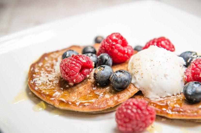 Apple and banana buckwheat pancakes