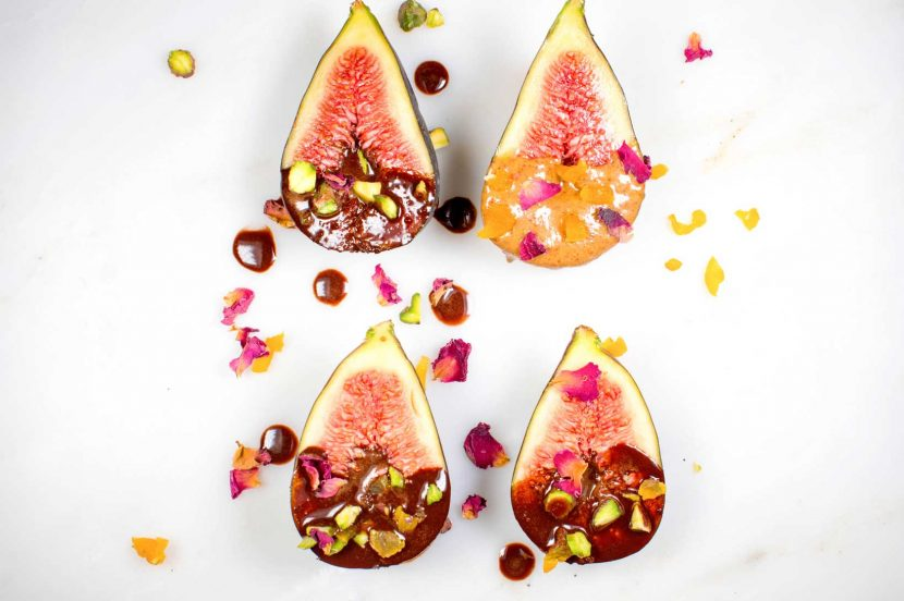 Cacao and pistachio dipped figs with almond butter