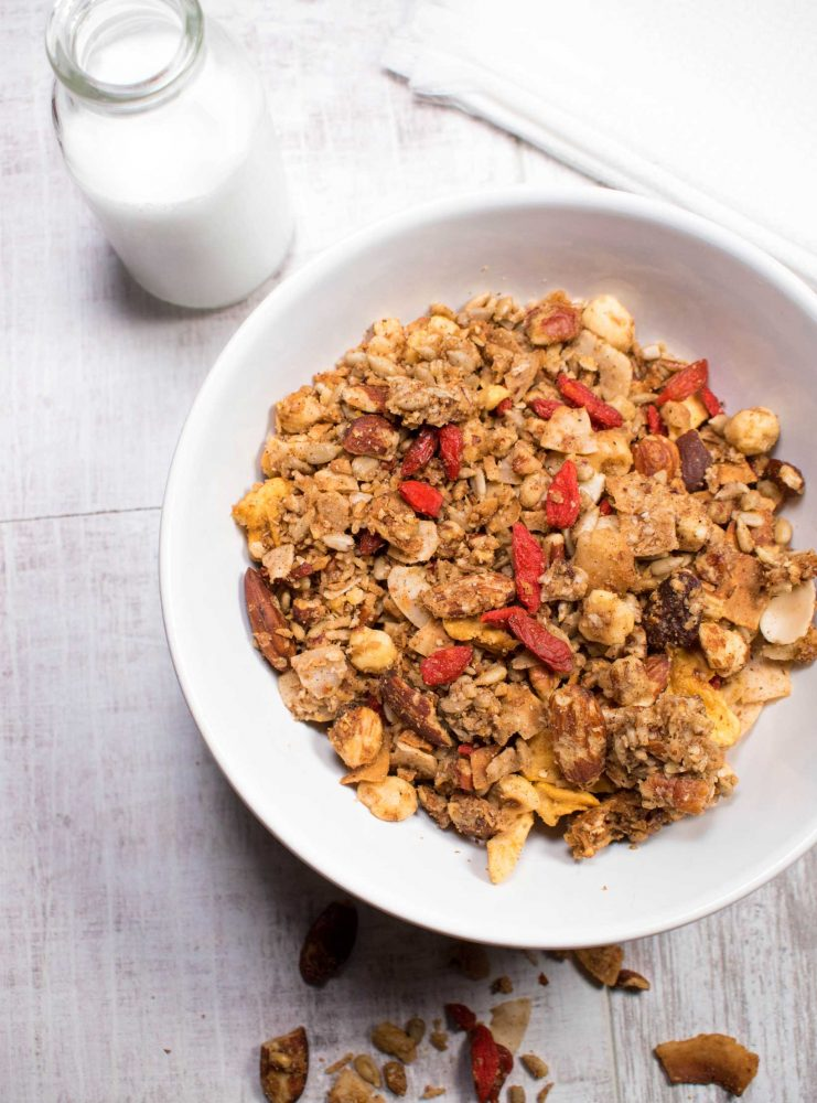 Nutty Granola with goji berries and nut milk