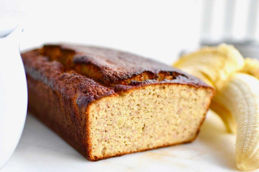 Brunch Banana bread loaf on white plate