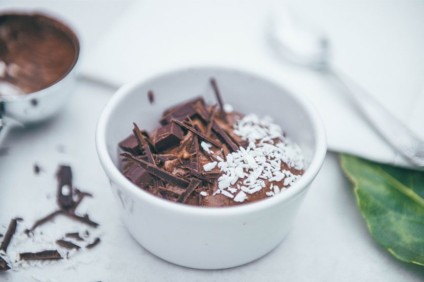 Banana & Cacao Dairy Free Ice-cream with chocolate flakes and coconut