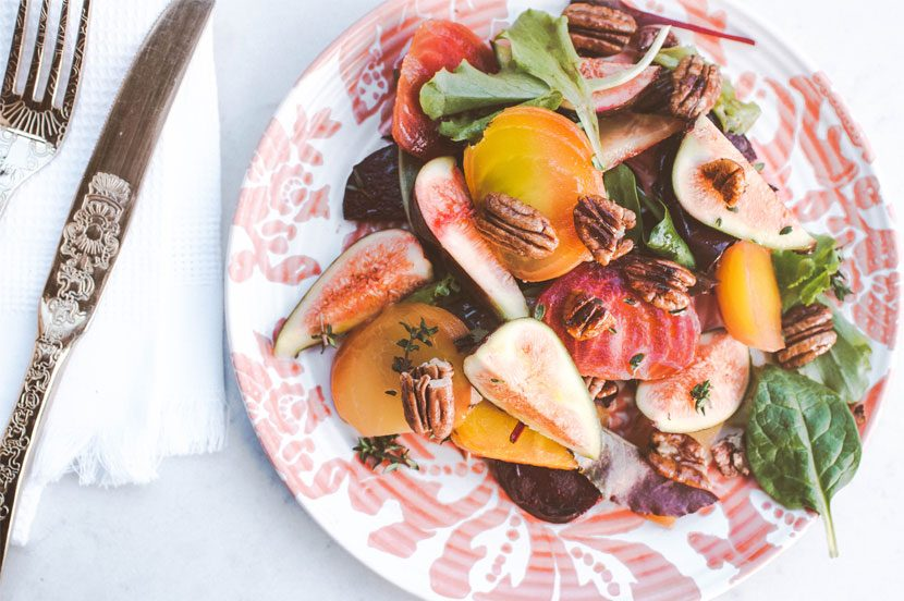Fig, beetroot & maple-glazed pecan salad