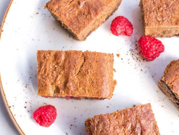 Raspberry Chocolate Chip Gluten and Dairy Free Blondies