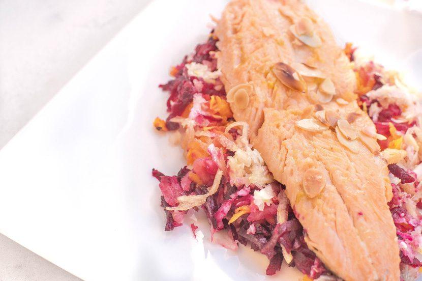 Trout with shredded beetroot, butternut squash, fennel and a mustard dressing
