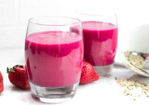 Party Recovery Smoothie with Beetroot, Coconut Water, Hempseeds, Strawberries, Honey