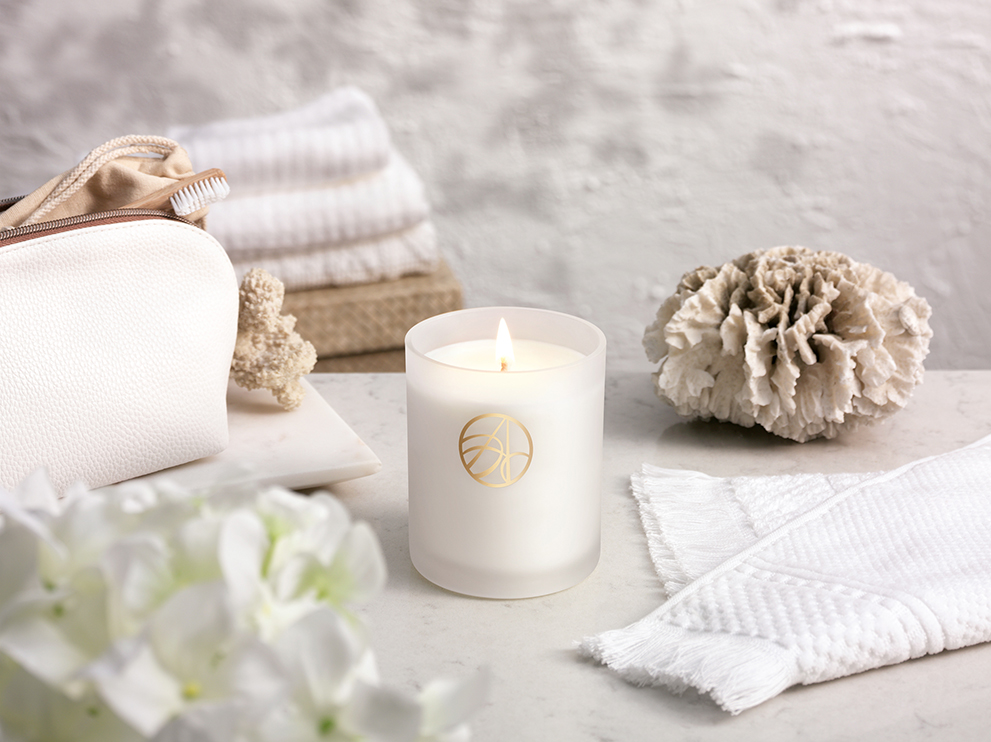 Reethi White Geranium & Sandalwood Scented ARDERE Aromatherapy Natural Wax Candle
