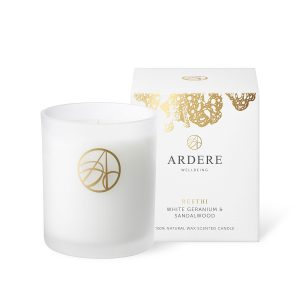 Reethi White Geranium & Sandalwood Scented ARDERE Aromatherapy Organic Natural Wax Candle