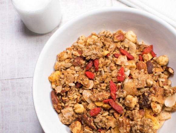 Nutty Granola with goji berries and nut milk