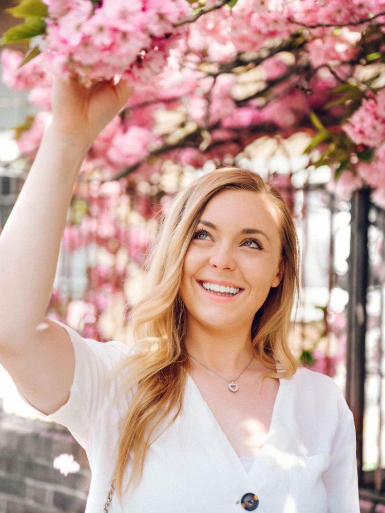 Girl Smiling Blossom Trees Flowers Spring