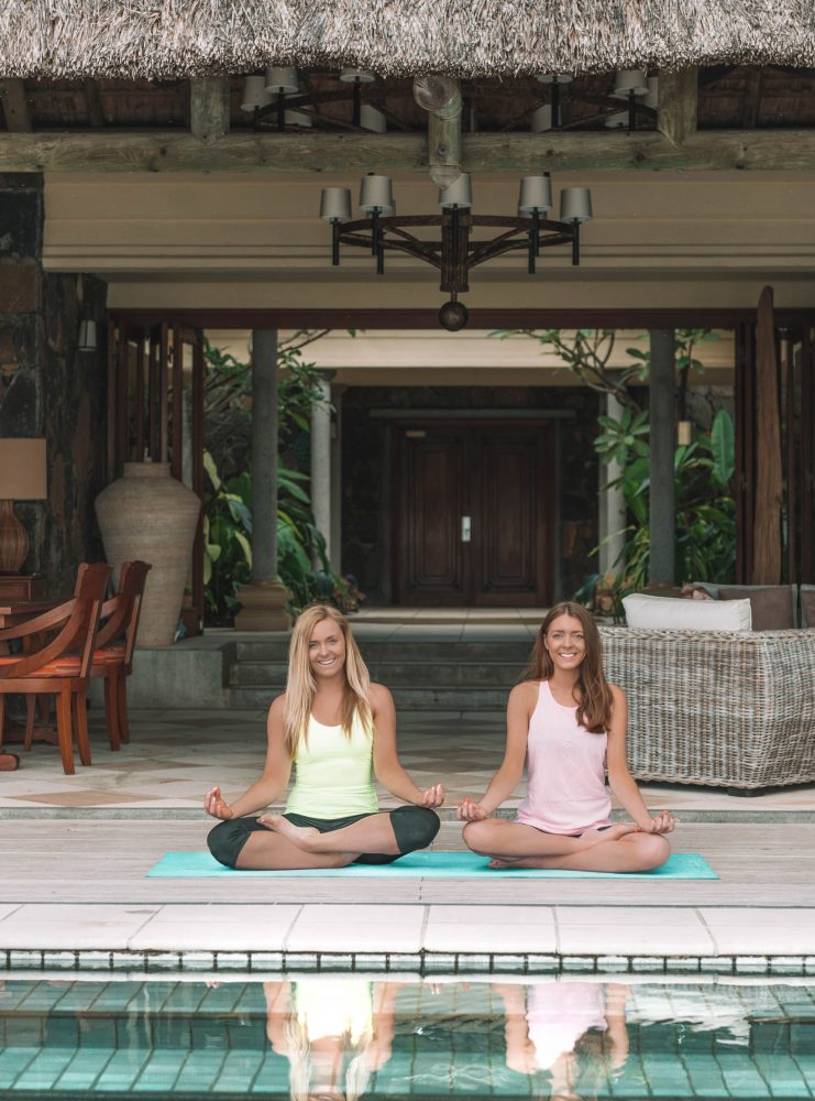 Introducing ARDERE Wellbeing Yoga by pool in Mauritius
