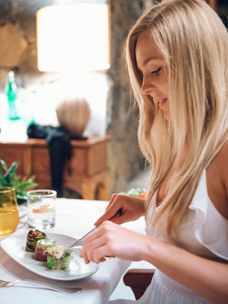 Blonde Eating Food