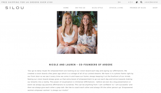 ARDERE co-founders Nicole and Lauren featured as SIlou London's Empowering women 2019