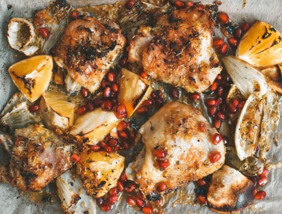 Pomegranate-&-Orange-Roasted-Chicken-Thighs-fennel-rosemary