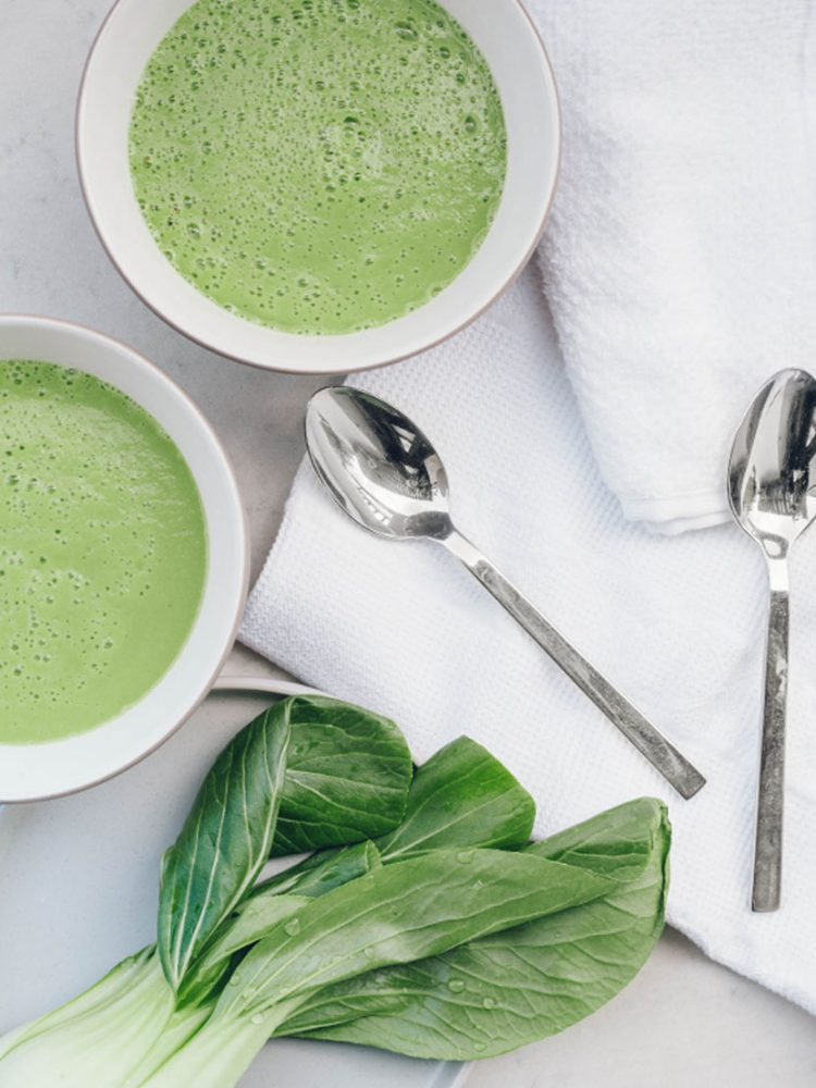Broccoli and pak choi soup